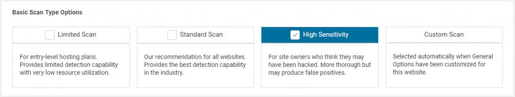 WordFence malware scan settings