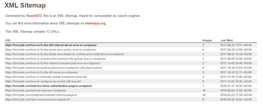 Fixmysite.com - XML Post Sitemap