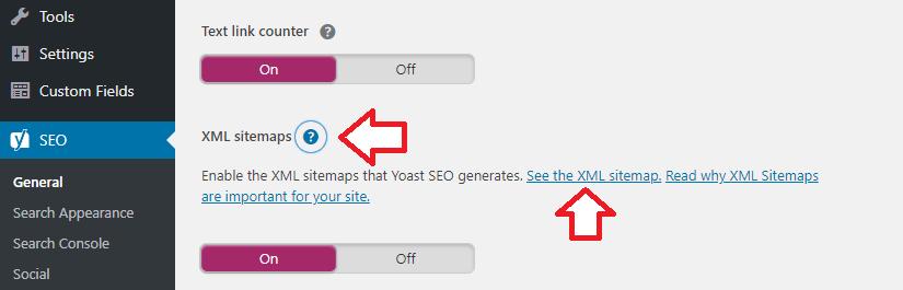 Yoast SEO - sitemap settings