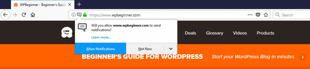WPBeginner (Firefox) - Push Notification