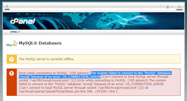 MySQL server offline