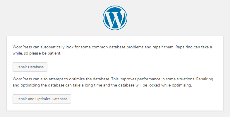WordPress - Repair Database