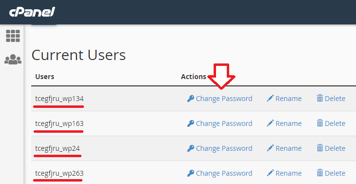 database user - change password