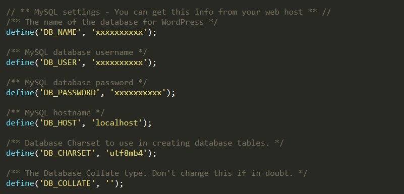 wp-config.php details